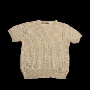 Vintage Talbott crochet short sleeve ivory colored top size 40 european(sz8 us)